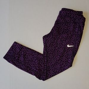 Nike Dry Fit running capri purple and black